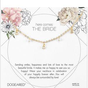 Dogeared Bride Pearl Gold Necklace 16""